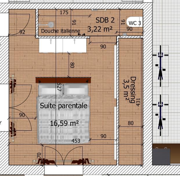 Besoin d 39 avis sur plan de maison de 90 20 m2 en r 1 76 for Plan suite parentale 15m2
